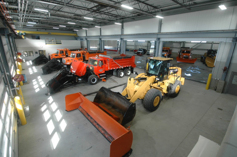 Maintenance bay at Washtenaw County Road Commission Northeast Service Center